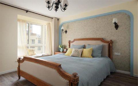 卧室咖啡色飘窗美式风格装修设计图片