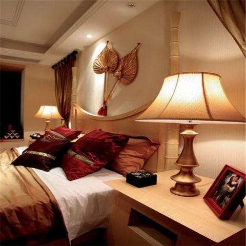 卧室橙色背景墙东南亚风格装潢图片