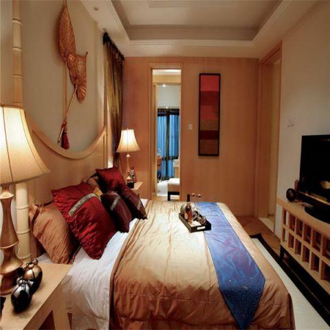 卧室橙色推拉门东南亚风格装修设计图片