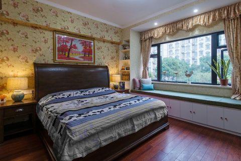 卧室彩色榻榻米美式风格装饰设计图片