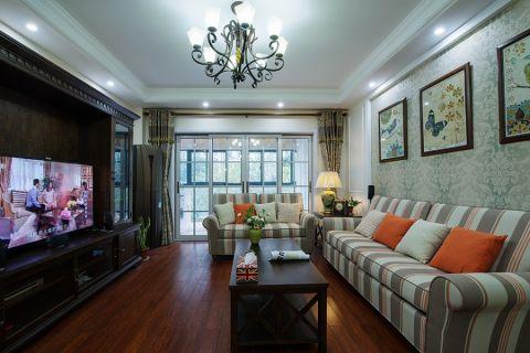 客厅彩色背景墙美式风格装潢设计图片