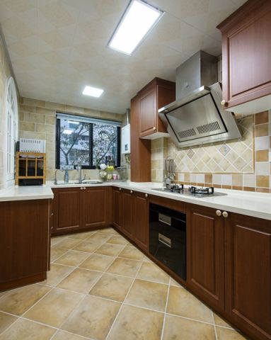 厨房彩色橱柜美式风格装修图片