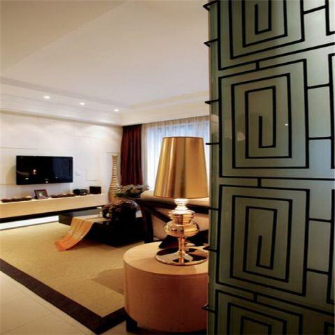 客厅橙色隐形门东南亚风格装饰设计图片