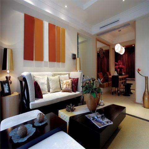 客厅橙色背景墙东南亚风格装潢设计图片