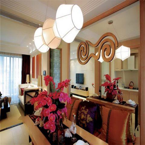 客厅橙色背景墙东南亚风格装修效果图