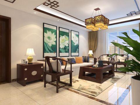 鲁商常春藤145平中式风格三居室装修效果图
