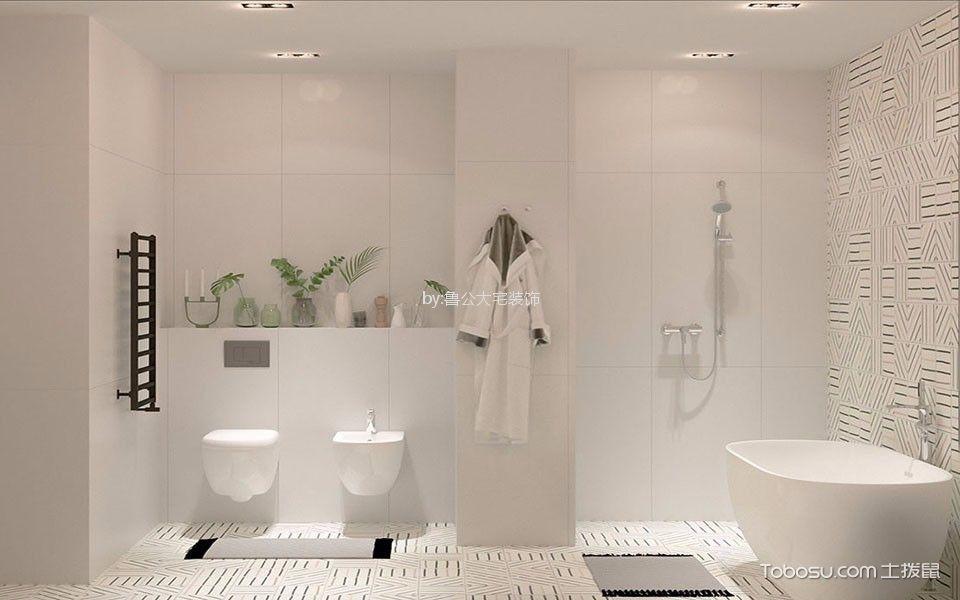 卫生间白色背景墙现代简约风格装修效果图