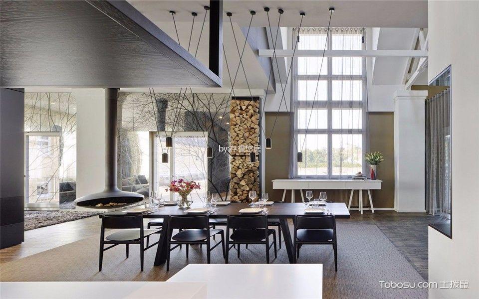 餐厅 吊顶_现代简约风格360平米复式新房装修效果图
