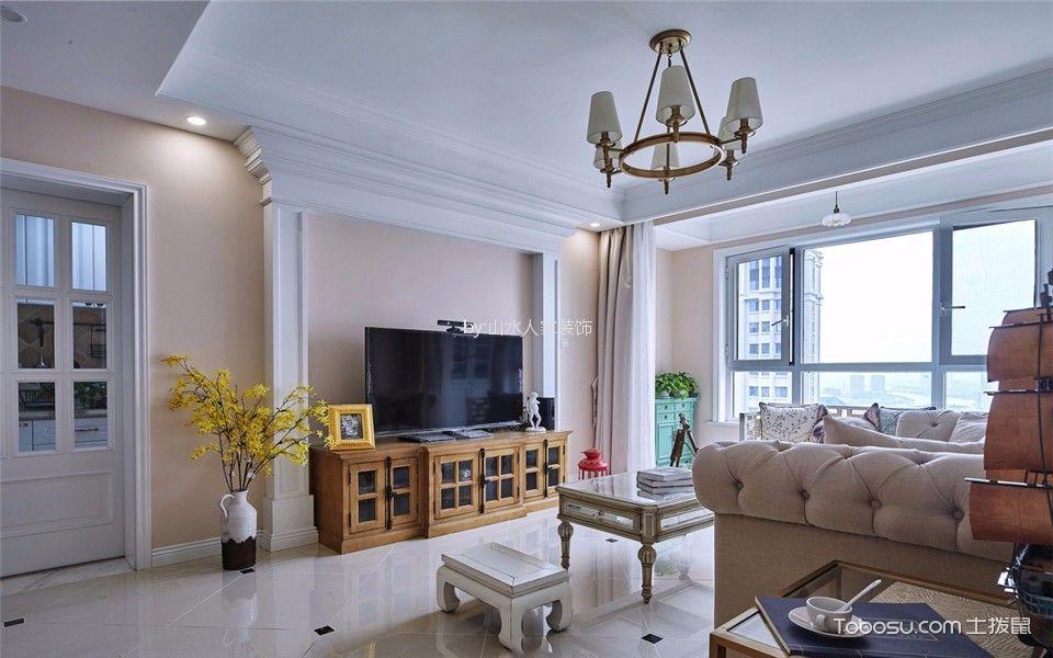 客厅 背景墙_金沙泊岸142平美式三居室效果图