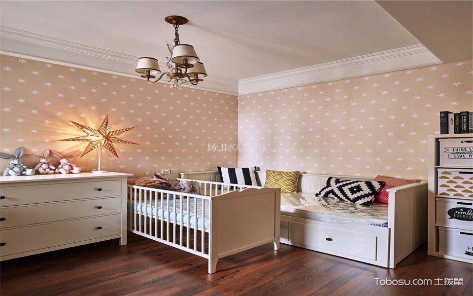 儿童房白色吊顶美式风格装修设计图片
