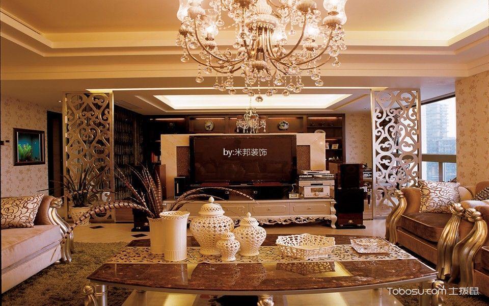 客厅黄色隔断欧式风格装潢设计图片