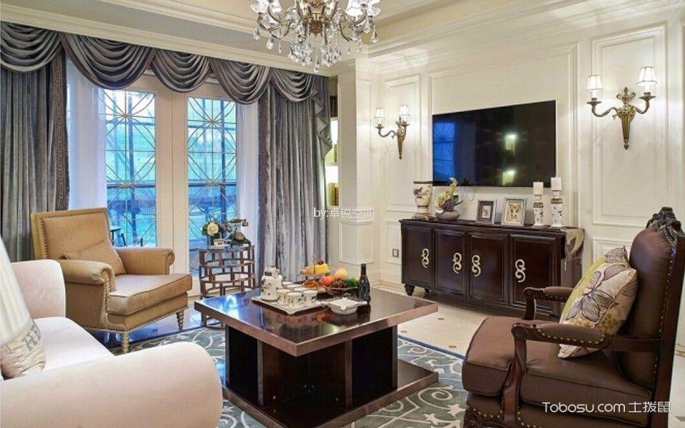 新城国际126㎡美式风格三居室装修效果图