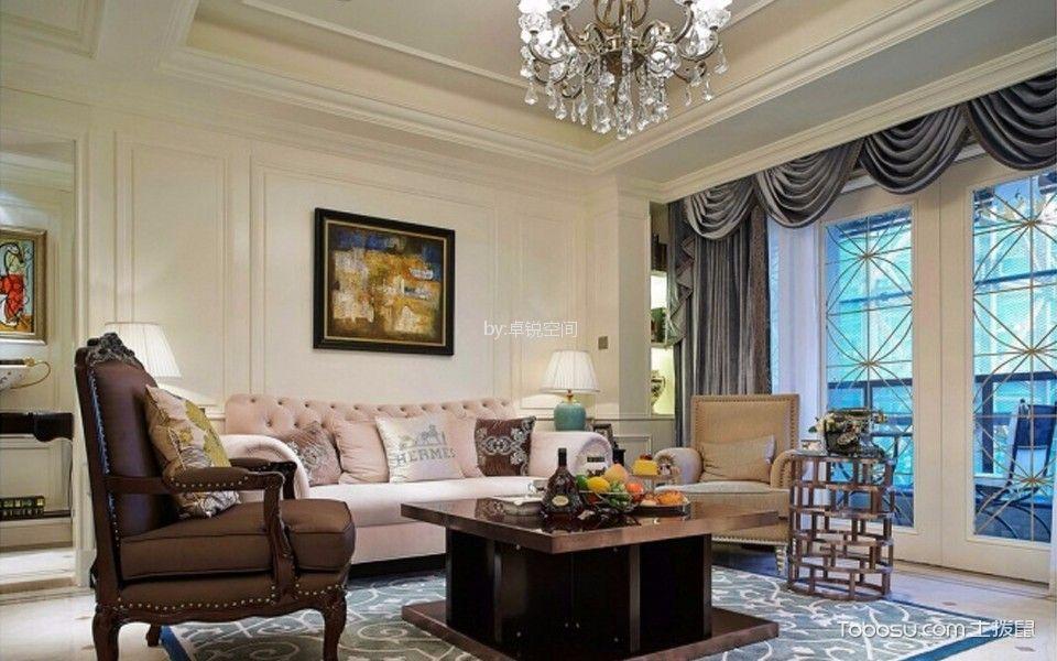 客厅 吊顶_新城国际126㎡美式风格三居室装修效果图