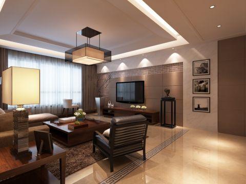 客厅背景墙现代中式风格装潢图片