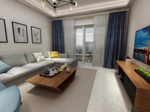 美的城107平米简约风格三居室装修效果图
