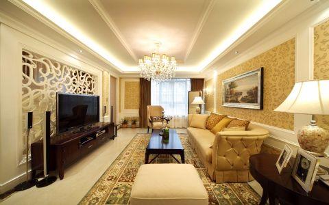 龙湖龙誉城113平欧式风格三居室装修效果图