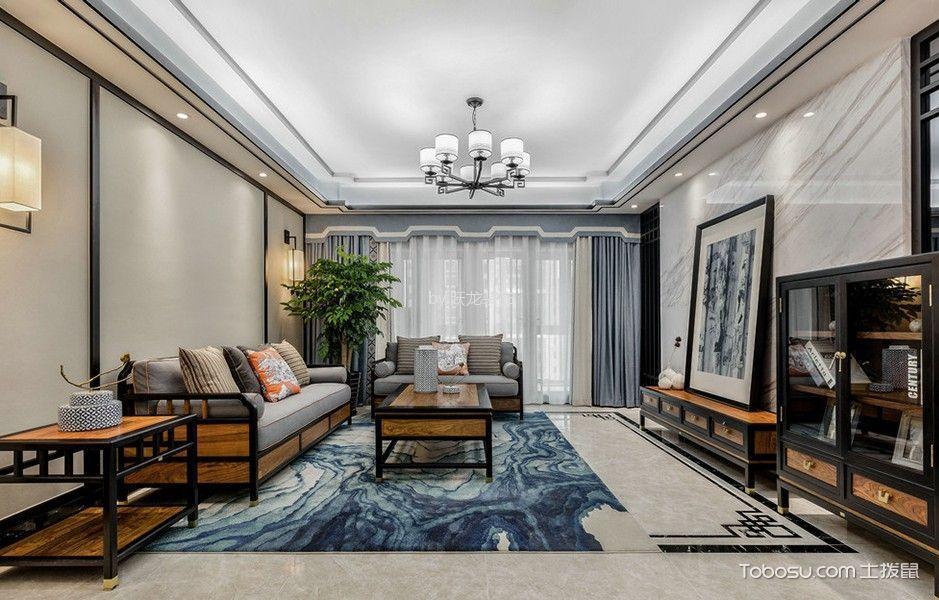龙湖龙誉城三居室130平中式风格效果图