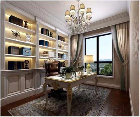 书房博古架美式风格装潢效果图