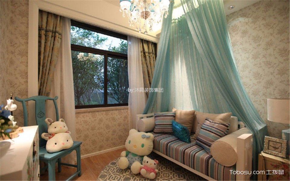 儿童房彩色榻榻米新中式风格装修效果图