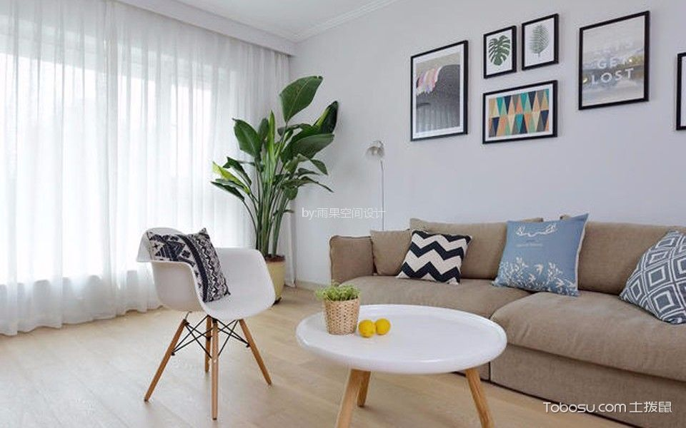 客厅 照片墙_沪亭北路80平简欧风格一居室装修效果图
