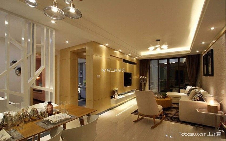 龙阳一号120平现代风三居室装修效果图