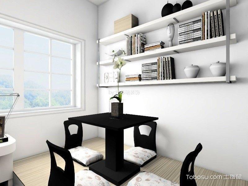 书房白色榻榻米现代简约风格装潢效果图