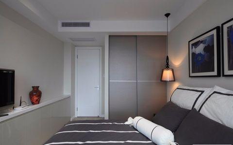 卧室白色背景墙现代风格装修图片
