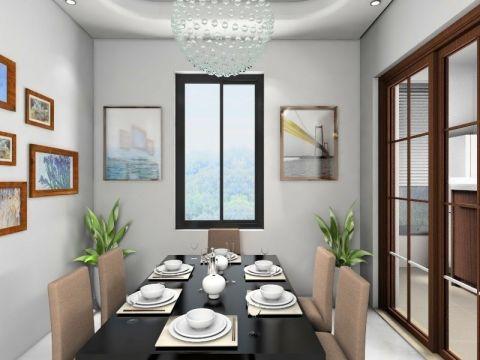 餐厅白色背景墙现代简约风格装修设计图片