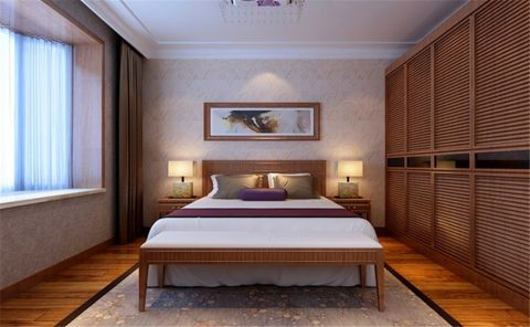 卧室米色窗帘新中式风格装潢设计图片