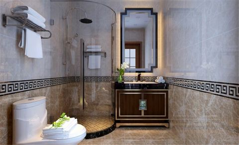卫生间白色隔断新中式风格效果图