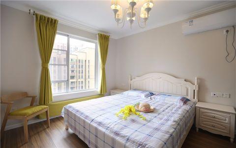 卧室绿色窗帘简约风格装潢图片