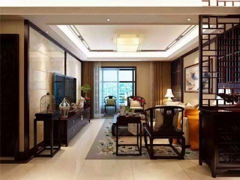 客厅隔断新中式风格装饰图片