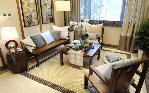 中铁-青秀城125平米新中式风格三居室装修效果图