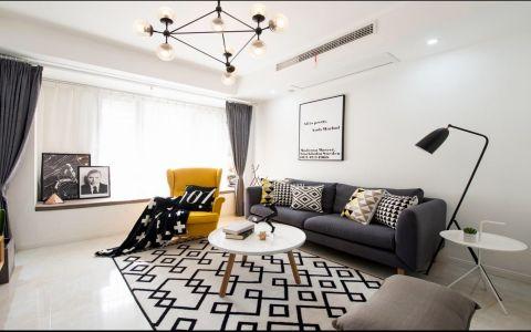 客厅白色吊顶现代简约风格装饰图片