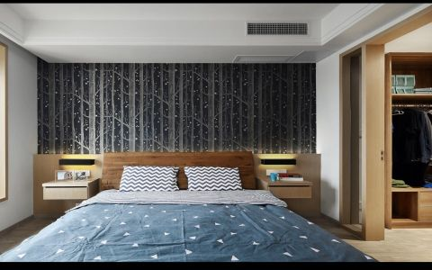 卧室黑色背景墙经典风格装潢设计图片