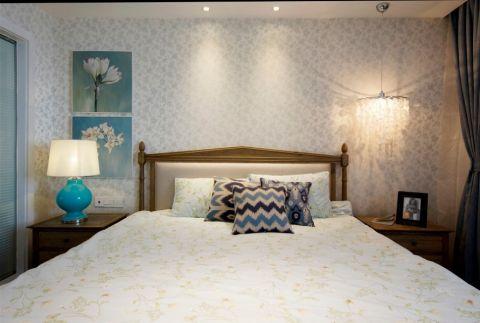 卧室米色背景墙现代简约风格装潢效果图