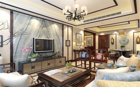 客厅黄色背景墙新中式风格装修效果图