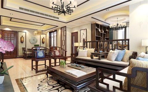 客厅黄色吊顶新中式风格装潢效果图