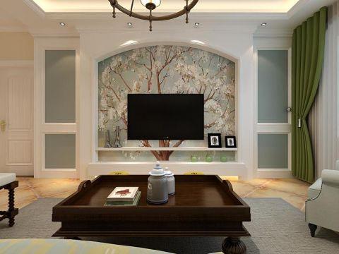 客厅彩色背景墙美式风格装潢效果图