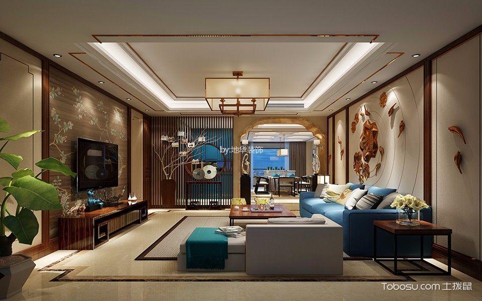 绿地华尔道98平中式两室一厅装修效果图