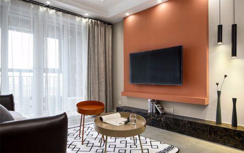 客厅橙色背景墙简欧风格装修图片