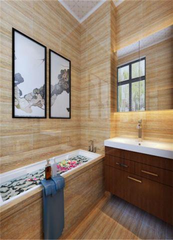 浴室背景墙中式风格装潢图片