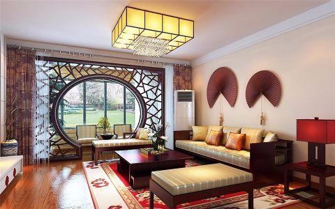 客厅黄色隔断中式风格装潢图片