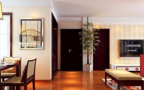 玄关黑色门厅中式风格装修设计图片