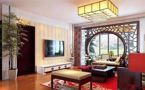 客厅黑色背景墙中式风格效果图
