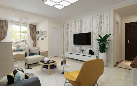 客厅灰色窗帘现代风格装潢图片