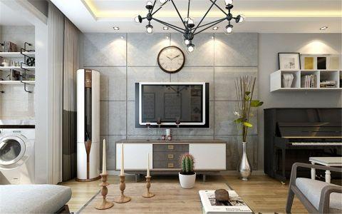 客厅灰色背景墙简约风格装饰效果图