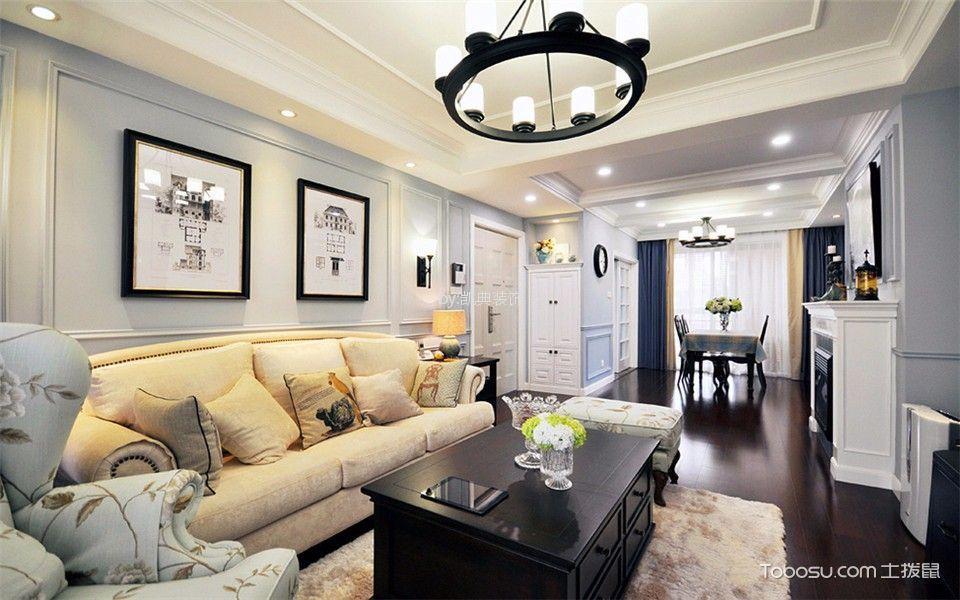 新建二村88平米美式风格三室两厅一卫小户型装修效果图