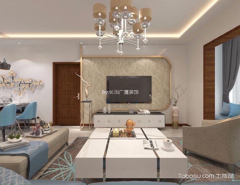 现代风格110平米三居室装修效果图
