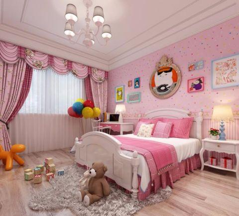 儿童房粉色照片墙简约风格效果图